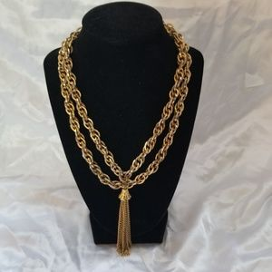 Vintage Chunky Gold tone Double link Necklace